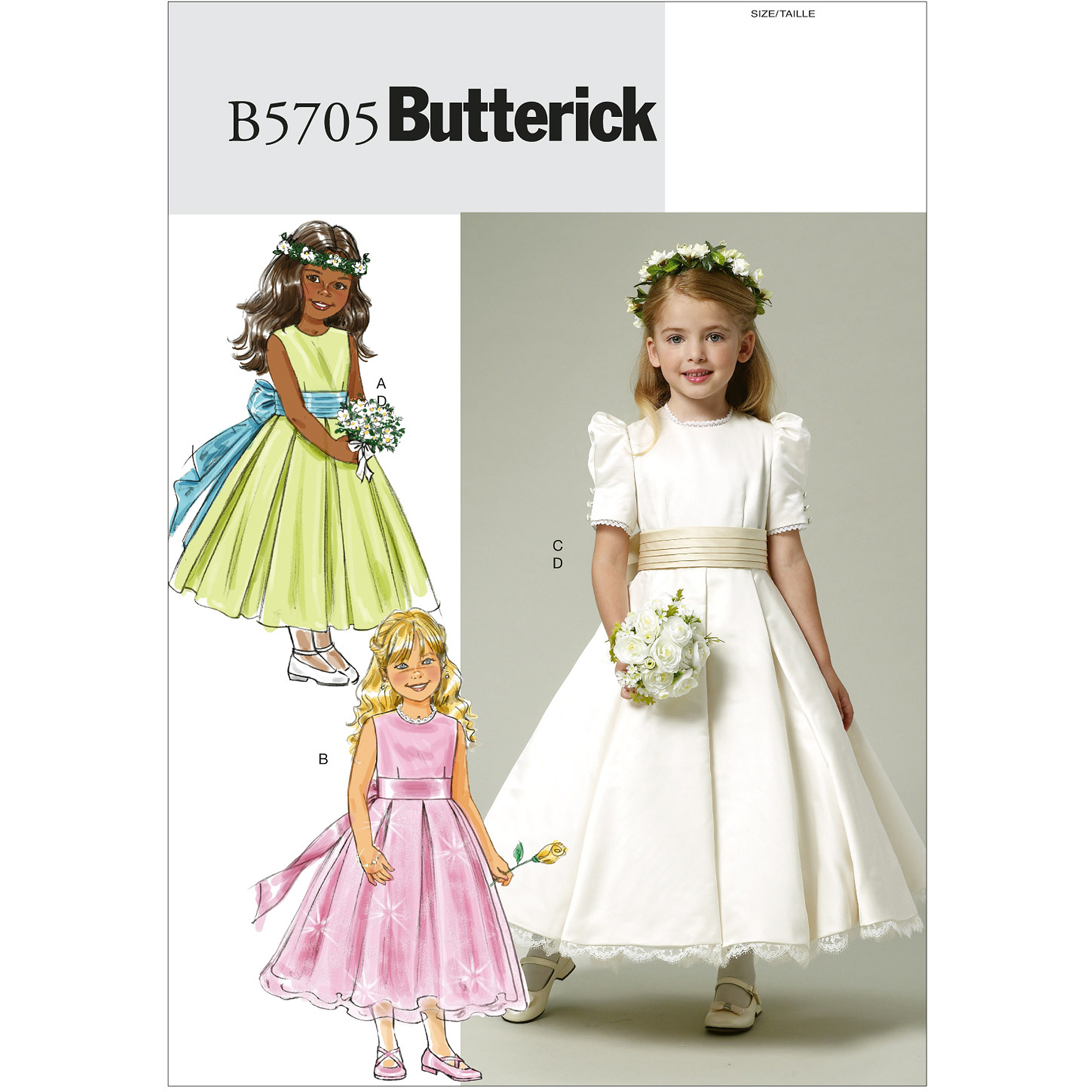 Butterick Pattern Children's and Girls' Dress and Cummerbund, CDD (2, 3, 4, 5)