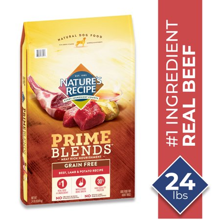 Nature's Recipe Prime Blends, Beef, Lamb, and Potato Recipe, Grain Free, Dry Dog Food, 24 Pound Bag