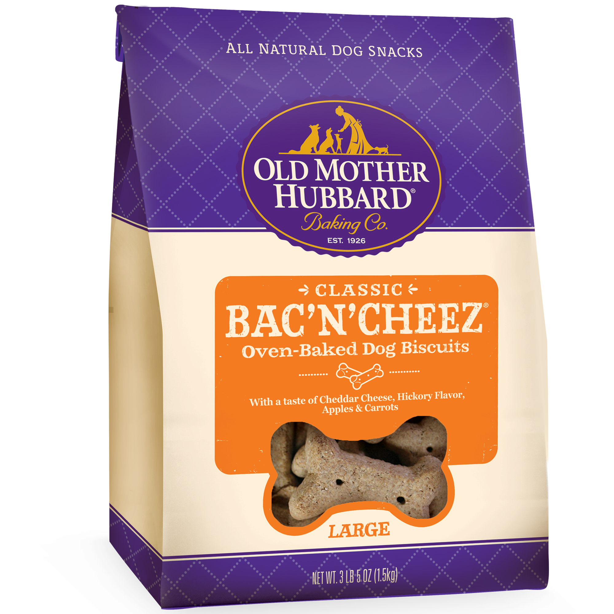 Old Mother Hubbard Classic Bac'N'Cheez Large Dog Treats, 3.3 Lb