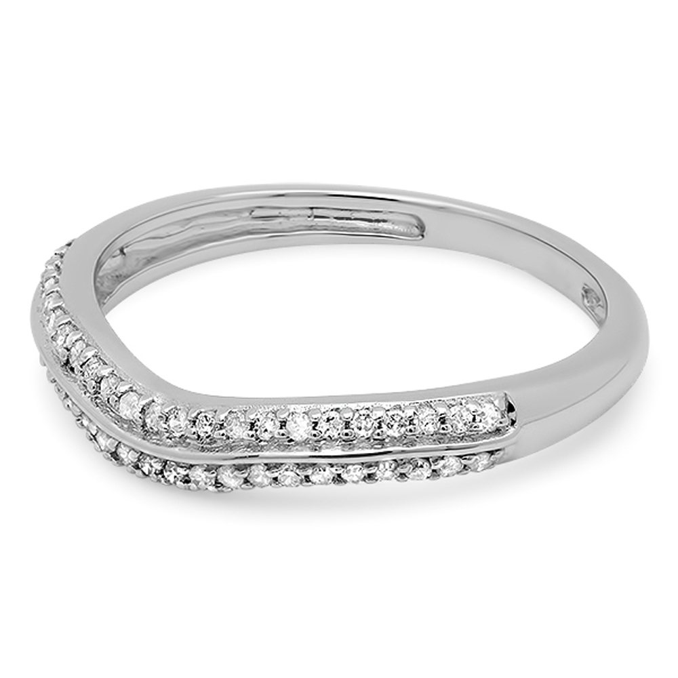 Round White Diamond Ladies Anniversary Contour Wedding Band 1//5 CT Sterling Silver Dazzlingrock Collection 0.20 Carat ctw