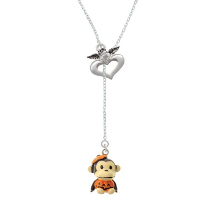 Resin Monkey In Pumpkin Costume   Guardian Angel Lariat Necklace