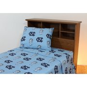 North Carolina Tar Heels 100% cotton, 3 piece sheet set - flat sheet, fitted sheet, 1 pillow case, Twin XL, Team Colors