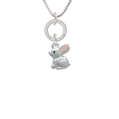 3-D Bunny - Passionate Fearless Strong Eternity Ring Necklace