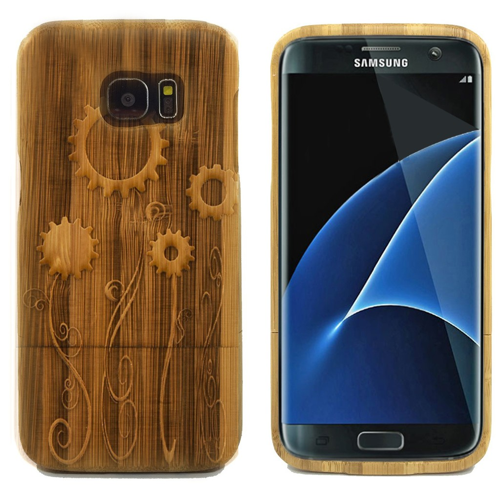This natural bamboo case engraved with Gear Flowers will protect your Samsung Galaxy S7 Edge. Our state-of-art technology ensures that your design covers the entire case .
