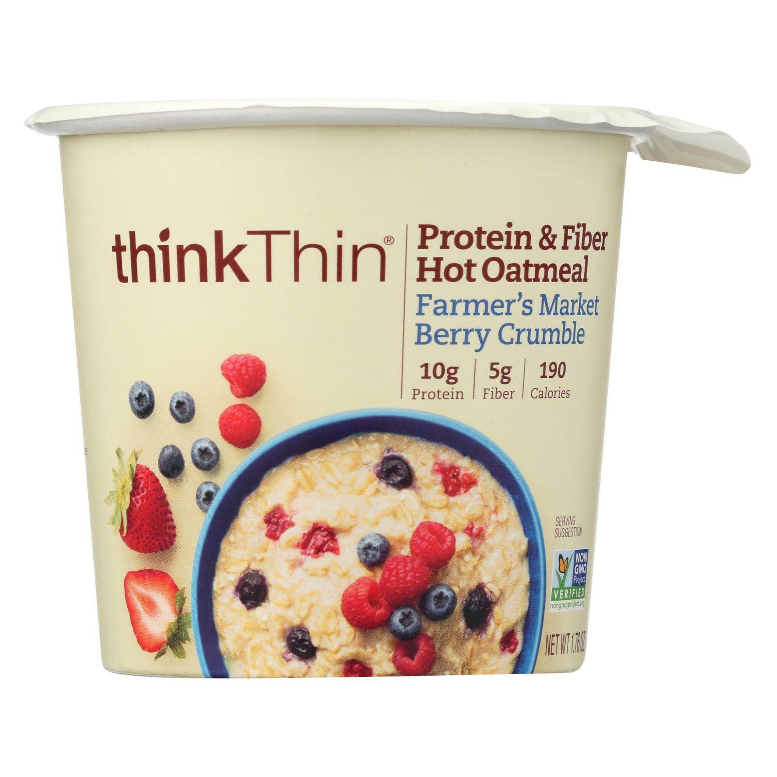 thinkThin Protein & Fiber Hot Oatmeal, Farmer's Market Berry Crumble, 1.76 oz Bow, 6 Count