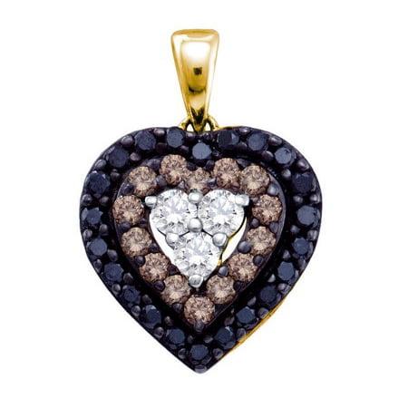 14K Yellow Gold 0.50ct Shared Prong Brown Diamond Layer Heart Fashion Pendant ()