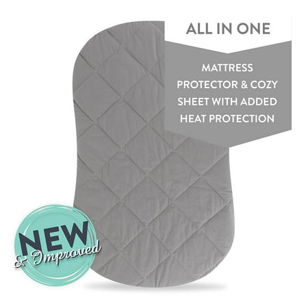 - Jersey Cotton Quilted Waterproof Hourglass and Oval Bassinet Sheet all in one Bassinet Sheet and Bassinet Mattress Pad Cover with heat prodtection - Grey, by Ely's & Co.