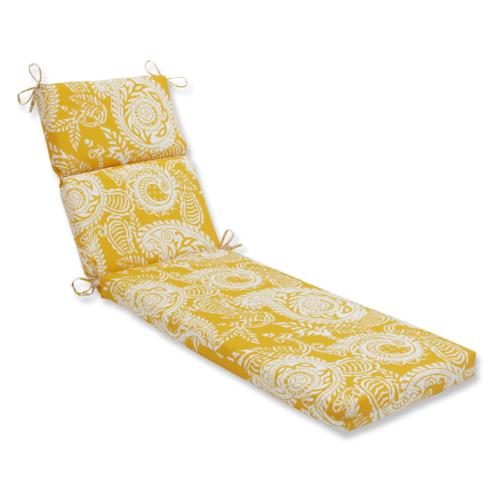 Pillow Perfect Outdoor/Indoor Addie Egg Yolk Chaise Lounge Cushion