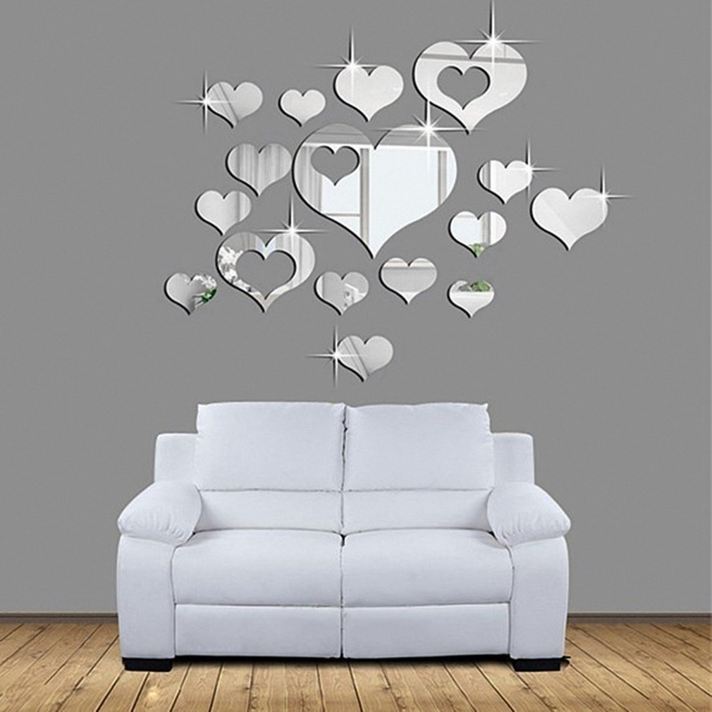 16pcs Romantic Love Hearts Decor Home Room Mirror 3D Wall Stickers Decals