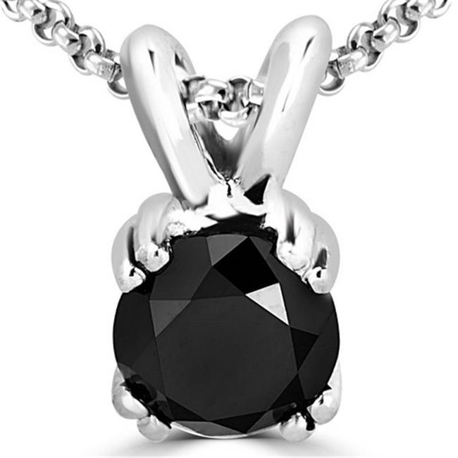 Majesty Diamonds 0. 75 CT Solitaire Round Black Diamond Pendant Necklace in 14K White Gold With Chain, 0. 75 Carat