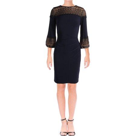 Lauren Ralph Lauren Womens Lace Bishop Sleeves Party Dress