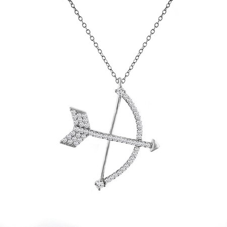 925 Sterling Silver White Clear CZ Bow Arrow Pendant Necklace,