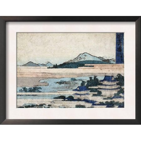 Acetate Temples Frame - Temple Buildings in Landscape with Mountains, Japanese Wood... Framed Art Print Wall Art