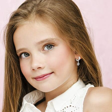 """925 Sterling Silver Pink CZ Small Hoop Huggie Dangle Flower Earrings Girls 0.39"""" - image 2 of 5"""