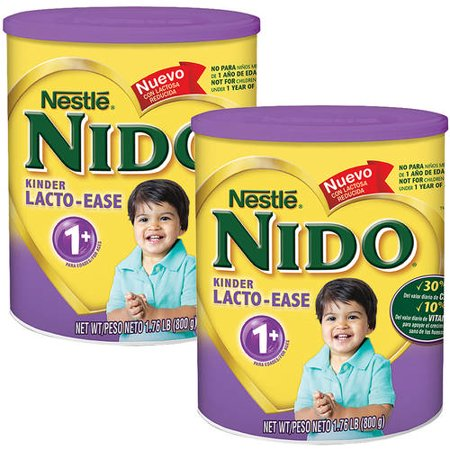 (2 Pack) NIDO Kinder Lacto-Ease 1+ Reduced Lactose Fortified Powdered Milk Beverage 1.76 lb. Canister (Milk Powder For Senior)