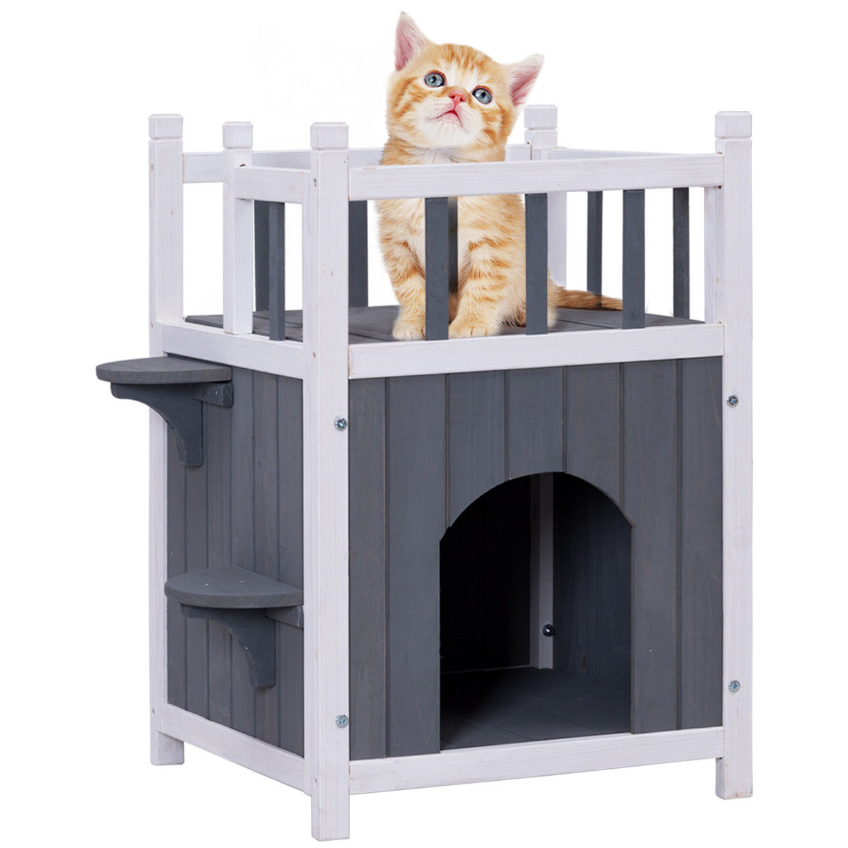 Gymax Wooden Cat Pet Home with Balcony Pet House Small Dog Indoor Outdoor Shelter - image 9 de 9