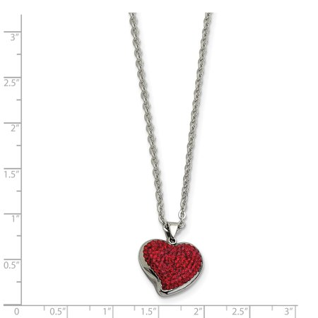 Stainless Steel Red Crystal Heart Pendant Chain Necklace Charm S/love Fashion Jewelry For Women Gifts For Her - image 4 de 7