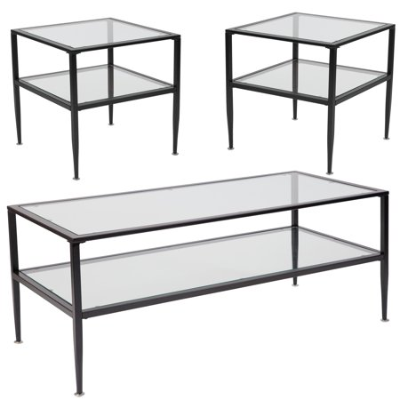newport collection flash furniture 3 piece coffee and end table set with glass tops and black. Black Bedroom Furniture Sets. Home Design Ideas