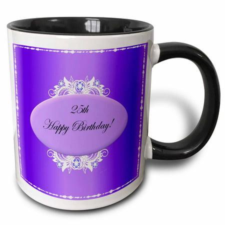 - 3dRose Purple 25th Birthday - Two Tone Black Mug, 11-ounce