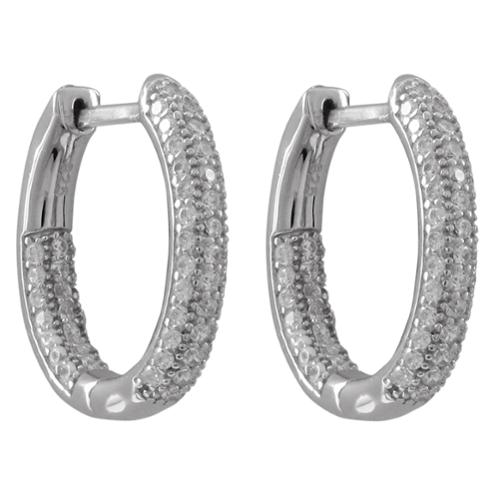 Luxiro  Sterling Silver Pave Cubic Zirconia Small Hoop Earrings with Hinge Lock
