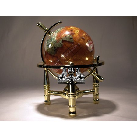 Unique Art 6-Inch Tall Amber Pearl Swirl Ocean Mini Table Top Gemstone World Globe with Gold Tripod Stand (Mini Globes)