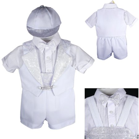 New Baby Boy Christening Baptism Formal Tuxedo Suit White New Born to 30 - Baptism Or Christening