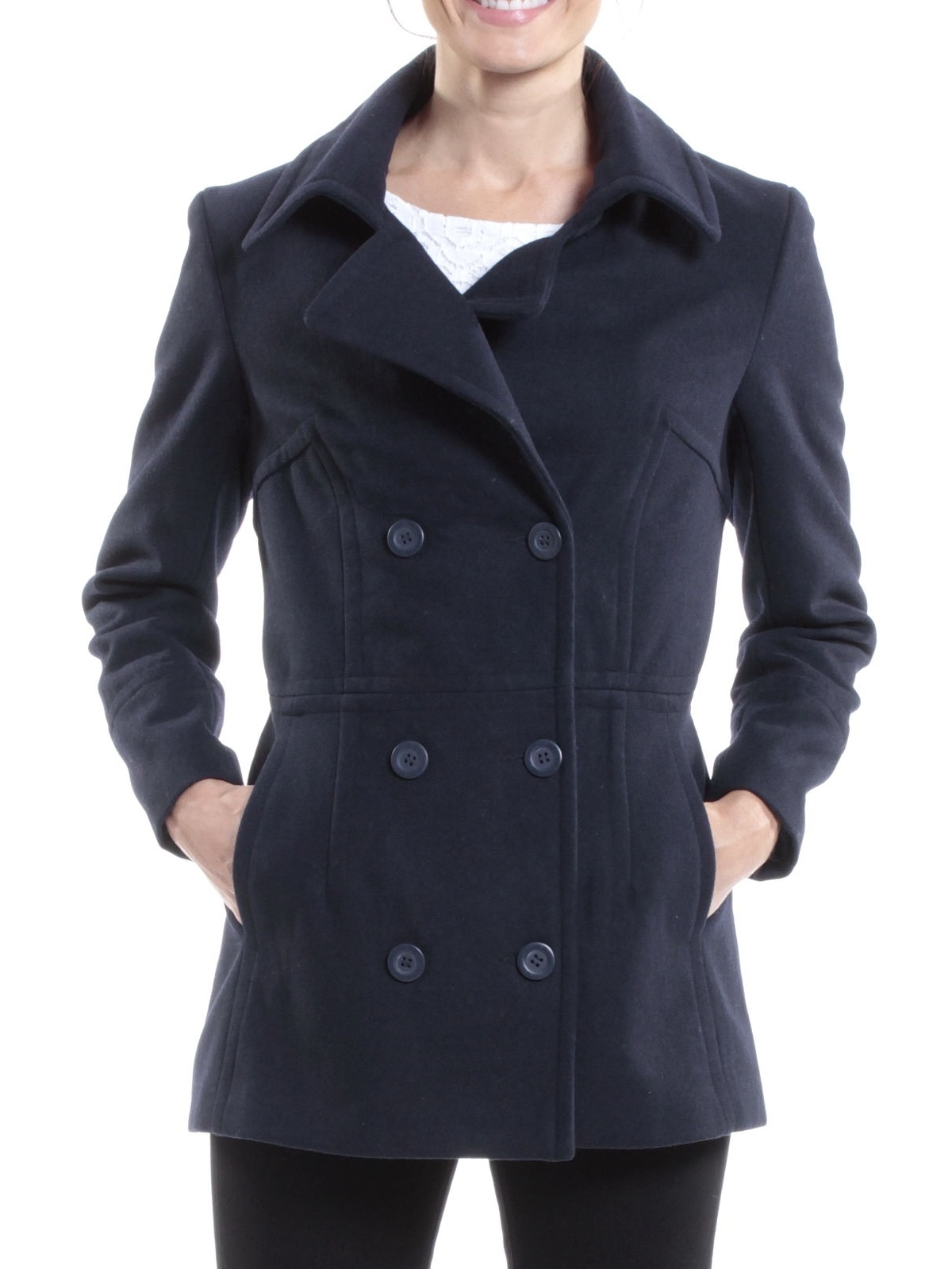 Alpine Swiss Emma Womens Peacoat Double Breasted Overcoat 3 4 Length Wool Blazer Black... by Womens Wool Coats