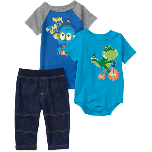Garanimals Newborn Boys' 3-Piece Creeper and Pants Set