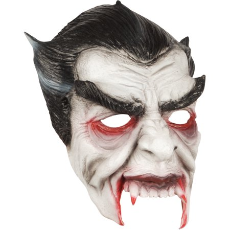 Loftus Halloween Horror Vampire Face Mask, White Black Red, One Size - Red And White Halloween Faces
