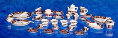 50 Pcs Dollhouse Tea Set Blue Floral Aztec Imports