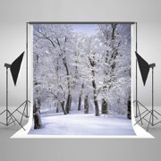 HelloDecor Polyester Fabric 5x7ft Snow Forest Backdrop Winter White Snow Frozen Trees Christmas Photography Backdrops Background for Photo Studio Props