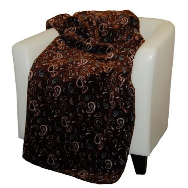 Denali Home Collection 16124750 Sable Paisley Double Sided Microplush Throw