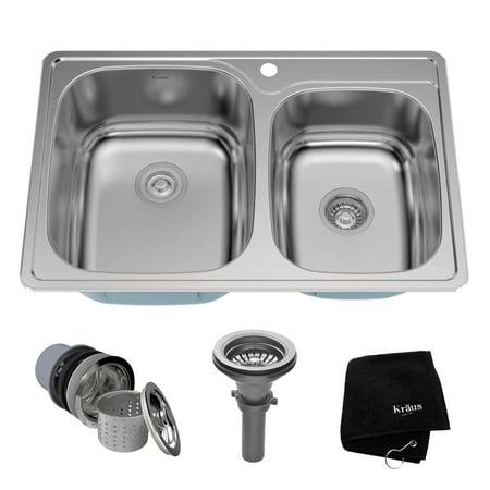 Bowl 18 Gauge Stainless Steel - KRAUS 33 Inch Topmount 60/40 Double Bowl 18 Gauge Stainless Steel Kitchen Sink with NoiseDefend™ Soundproofing