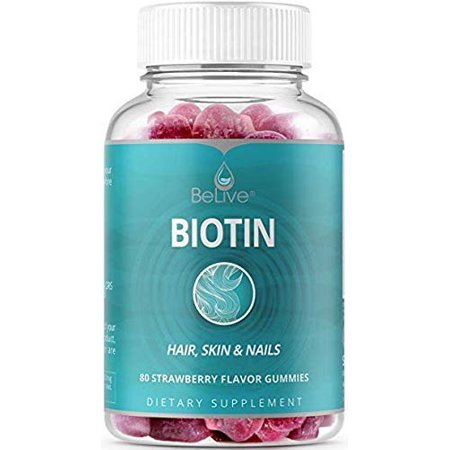 BeLive Biotin Gummies for Hair Growth, Promotes Healthier Hair, Skin & Nail - Best Strength 10,000mcg for Women & Men, 80