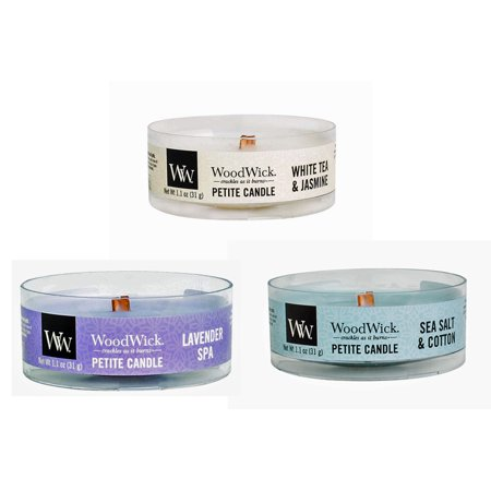 WoodWick Calming Retreat Petite Candle Bundle - 3 Items: Lavender Spa, Sea Salt & Cotton, and White Tea & Jasmine Petite 1.1 oz Candles