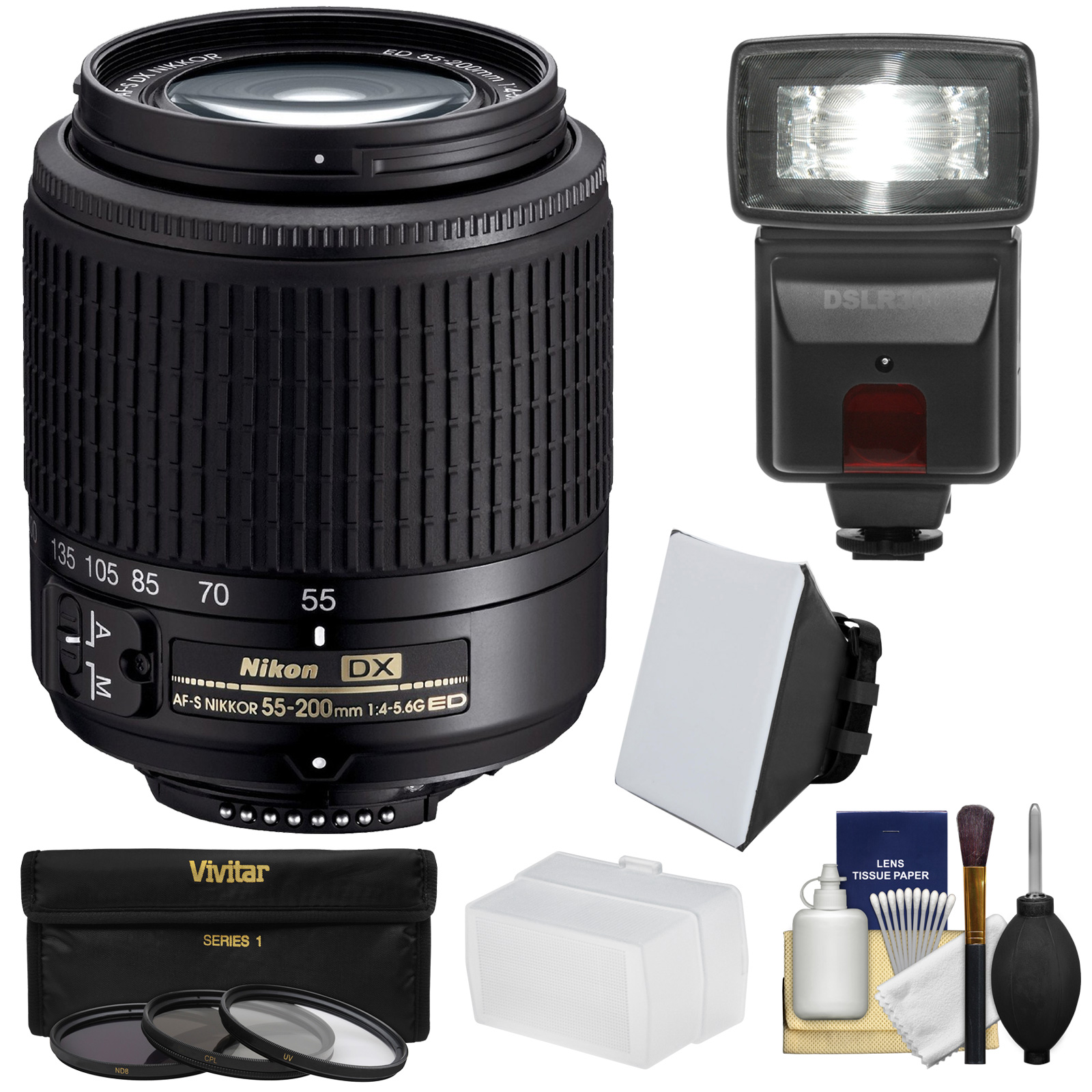 Nikon 55-200mm f/4-5.6G DX AF-S ED Zoom-Nikkor Lens with 3 UV/CPL/ND8 Filters + Flash + Softbox + Diffuser + Kit