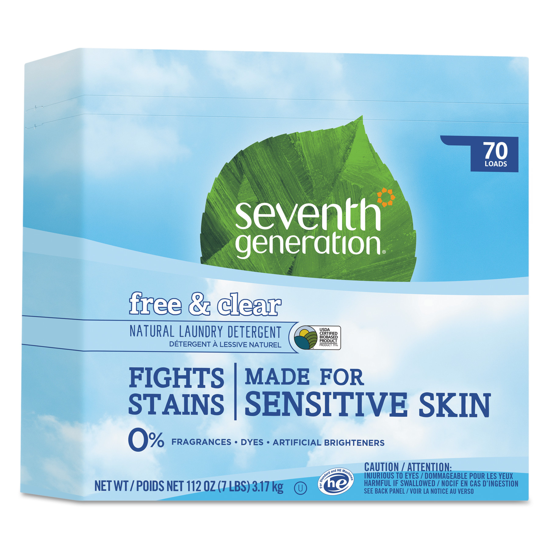 Seventh Generation Natural Powder Laundry Detergent, Free & Clear, 70 Loads, 112 oz Box