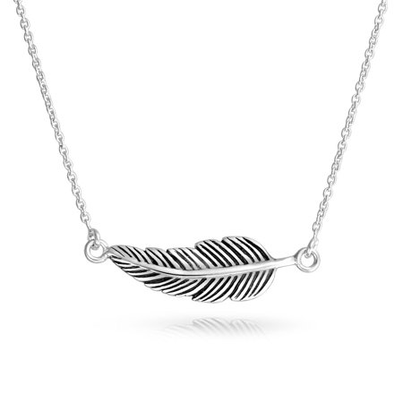 Bohemian Boho Style Sideways Diagonal Feather Leaf Pendant Necklace For Women For Teen Oxidized 925 Sterling Silver