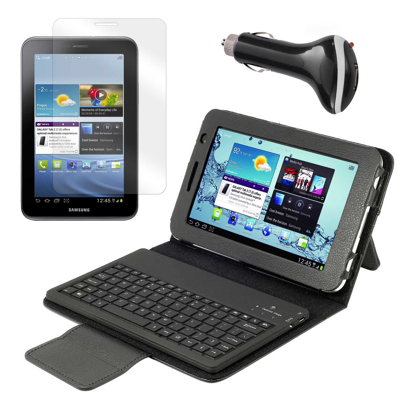 "Bluetooth Keyboard Folio with Screen Protector and Car Charger for Samsung Galaxy Tab 2 7"" Tablet"