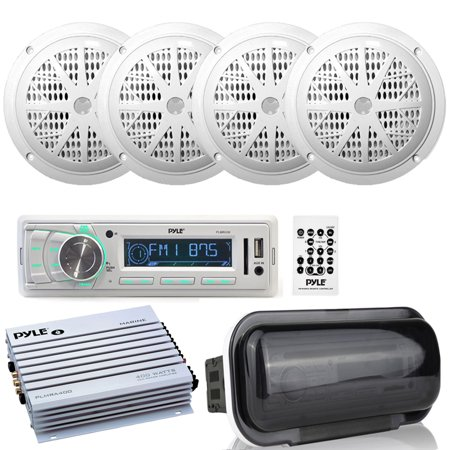 Pyle PLMR88W Marine AM/FM Stereo Player Receiver, 4 Ch. 400W Marine Amplifier, Dust Cover and (4) PLMR41W 4-Inch 100W Dual Cone Speakers