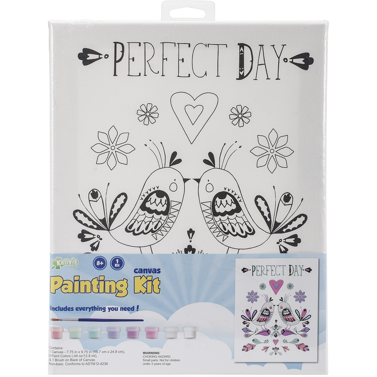 "CP Stretched Canvas And Paint Kit 7.75""x9.75""-Love Birds"