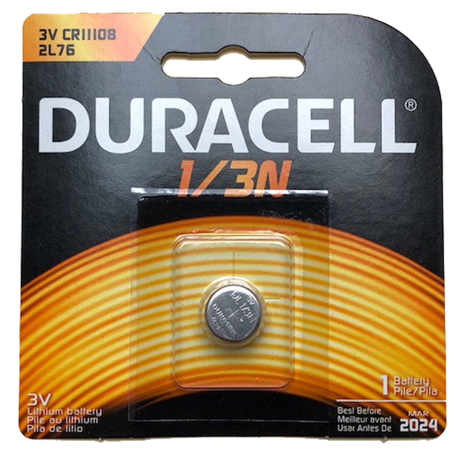 Duracell Photo DL CR1/3N 2L76 3V Lithium Battery Replaces 1/3N, DL1/3N, DL1/3NB