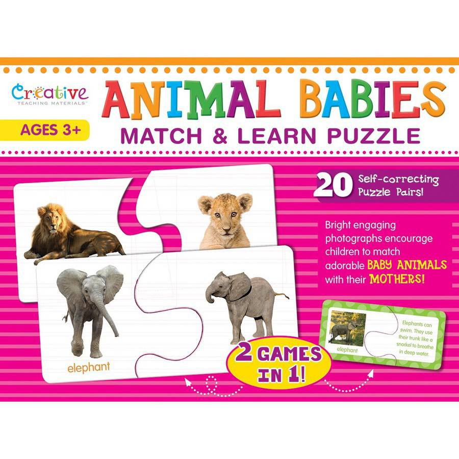 Creative Teaching Materials Match & Learn Puzzle-Animal Babies 20/