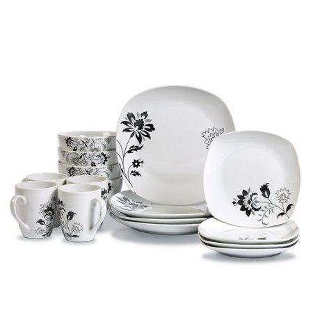 Tabletops Gallery Rebecca Square 16 Piece Dinnerware Set, Floral Pattern