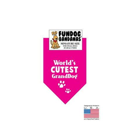 MINI Fun Dog Bandana - le plus mignon du monde granddog - Taille miniature pour petits chiens de moins de 20 lbs, écharpe animal rose chaud