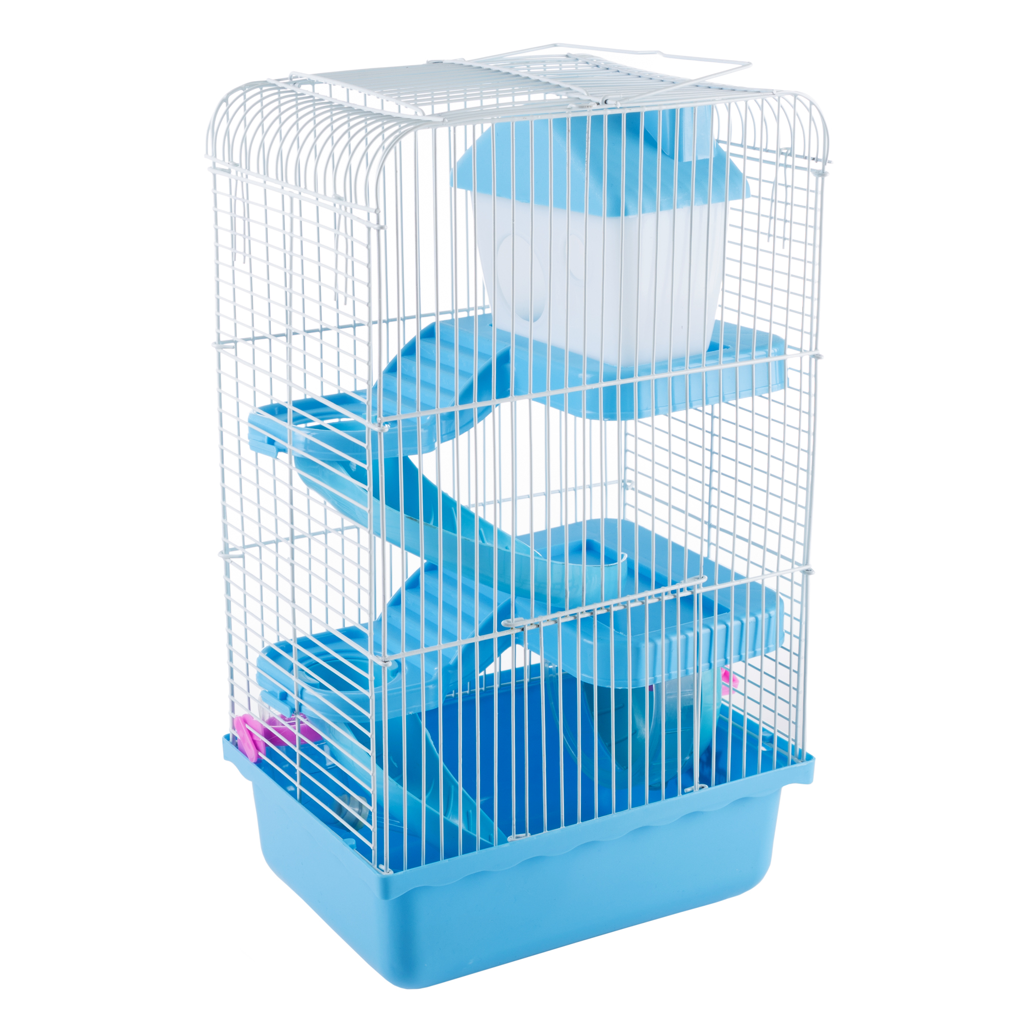 Hamster Cage Habitat, Critter/Gerbil/ Small Animal Starter Kit with Attachments/Accessories by PETMAKER (Blue)