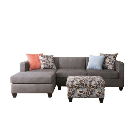 Divano Roma Furniture Small E Reversible Grey Microfiber 3 Piece Sectional Sofa With Fl Print Ottoman