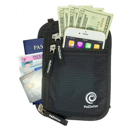 PAZINGER Neck Wallet Passport Holder & Travel Pouch w/ RFID Blocking