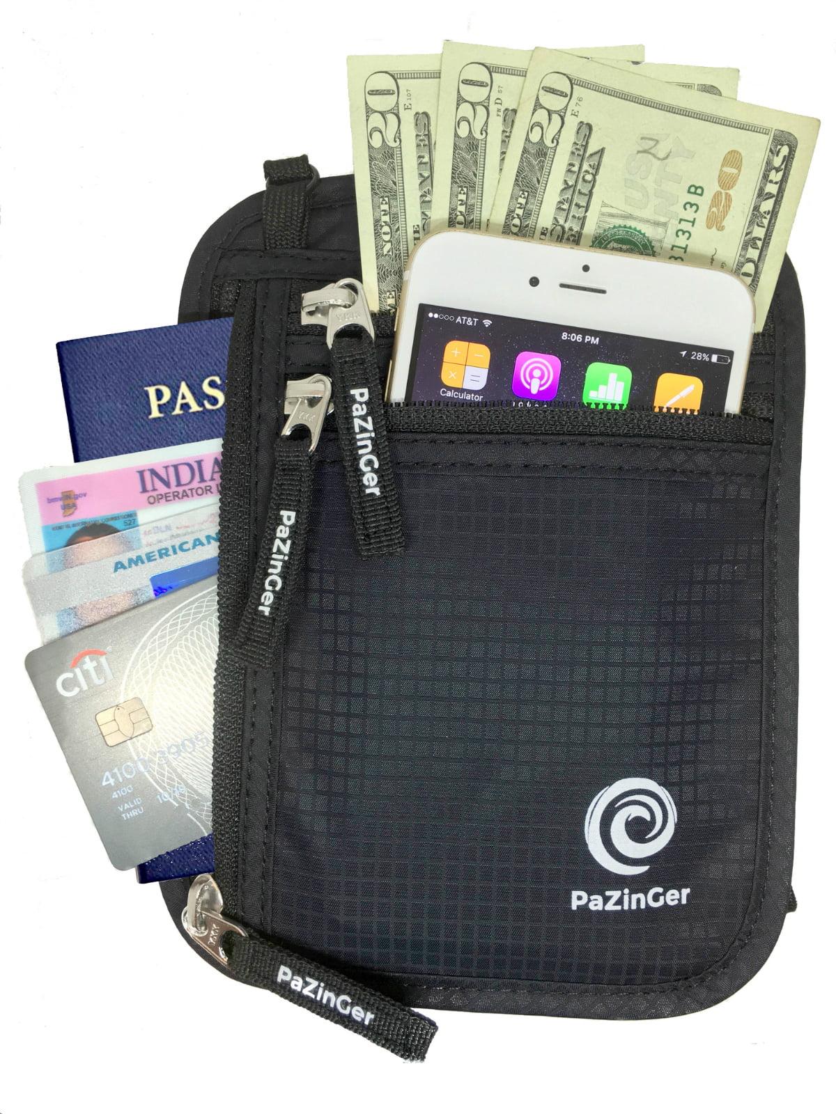 PAZINGER Neck Wallet Passport Holder & Travel Pouch w/ RFID Blocking Security