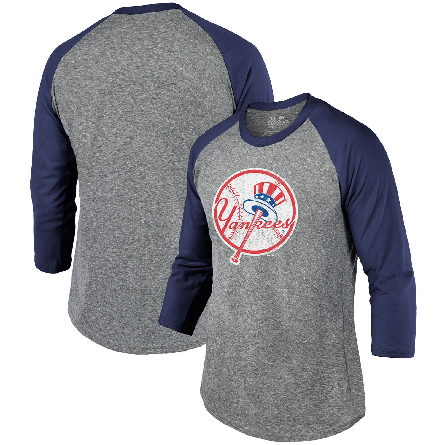 New York Yankees Majestic Threads Current Logo Tri-Blend 3/4-Sleeve Raglan T-Shirt - Heathered Gray/Navy